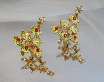 SALE Vintage Christmas Earrings. Christmas Trees. Red Clear Rhinestones. Holiday Earrings.