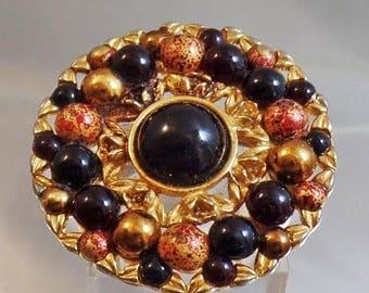 SALE Vintage Black Gold Speckled Bead Brooch.  Liz Claiborne.  Black Gold Speckled Bead Pin.