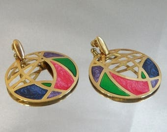 SALE Vintage Abstract Earrings. Gold Tone Hoops. Stained Glass Style. Pink. Purple. Blue. Green. Marbled Enamel.