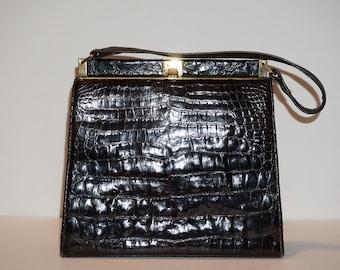 Vintage 1960s Dark Brown Alligator Kelly Handbag
