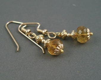 Citrine Gemstone Earrings with Gold Fill Beads and Ear Wires