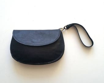 Black leather purse - woman wallet