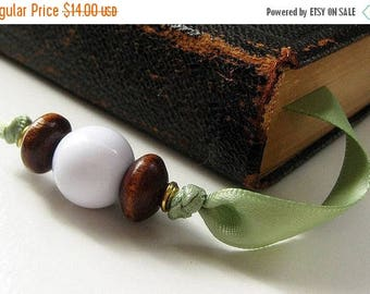 SUMMER SALE Beaded Bookmark. Satin Ribbon Bookmark. Sage Green Bookmark. Handmade Bookmark. Ribbon Book Marker. Book Thong.