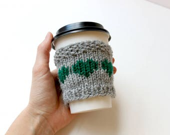 Travel Cup Cozy, Holiday Gift, Knit Coffee Sleeve, Coffee Cup Sleeve, Gift for Her, Friend Gift, Coffee Lover Gift, Coffee Cup Gift