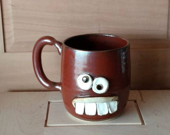 Extra Large Coffee Cup. 16 Oz. Unique Gifts for Man Woman Coffee Lover. Cinnamon Red Tea Mug. Handmade Ceramic Pottery Face Mug.