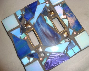 MOSAIC LIGHT SWITCH Plate, Double, Wall Art, Wall Plate, shades of blue, Purple, Gold, Silver