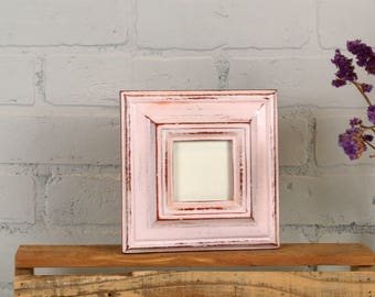 3x3 Picture Frame in Mulder Style with Super Vintage Red under Baby Pink Finish - IN STOCK - Same Day Shipping - 3 x 3 Square Photo Frame
