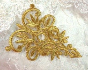 "Gold Metallic Embroidered Applique Iron On Patch 3.75"" (GB518-gl)"