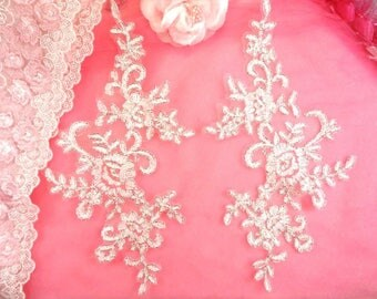 """Appliques White with Silver edge Venice Lace Embroidered Floral Mirror Pair Costume Motifs DIY 9.5"""" (DH108X-whsl)"""