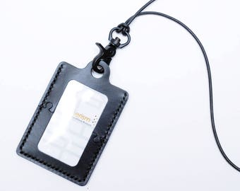 Dap-Dap-Sew Puzzle Series Vertical Badge Black Card Holder Genuine Leather DIY Kit