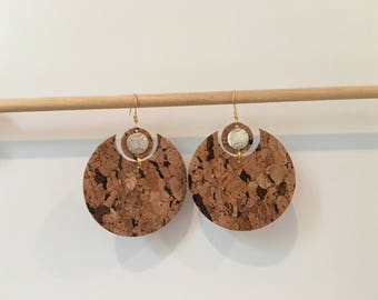 CORK geometric shape earrings natural earrings light earrings lightweight earrings circle earrings lightweight earrings