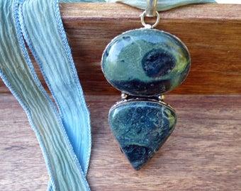 Stromatolite Kambaba Jasper Gemstone Pendant Necklace, Hand dyed silk ribbon necklace - Gemstone - Silk - Fashion Jewelry
