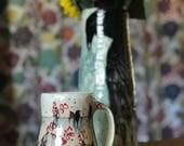 Mug Pottery Mug Ceramic Mug Birdsnon a Wire Handmade Mug Second Sale