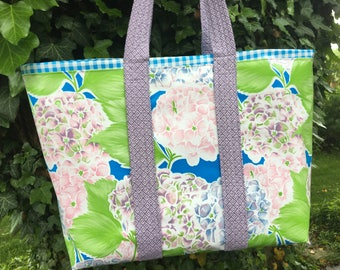 The Nantucket---Big beautiful hydrangea large oilcloth tote bag