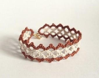 Steampunk Lace Bracelet in Bronze , Beige Tatting - Marie
