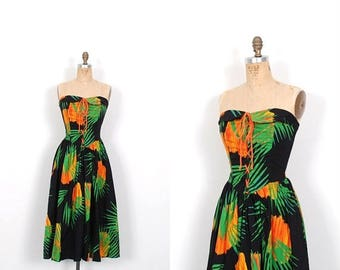 MEMORIAL WEEKEND SALE... Vintage 1980s Dress / 80s Tropical Print Strapless Sundress / Black and Green ( S M )