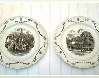 BEAUTIFUL WHITE Wedgwood Plates with Old Town London Scene Set of Two