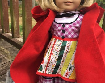Little Red Riding Hood costume, 18 in doll size