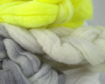 Como Wool Roving, 4 oz, Spinning and Felting, Highlighter and Graphite, Gradient