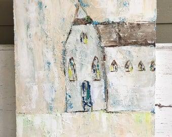 Church painting , 24 x 30 acrylic painting , original painting,