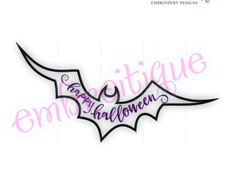 Happy Halloween Bat - Fill Stitch -Instant Download Machine Embroidery Design