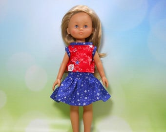13 inch doll clothes made to fit dolls such as Corolle Les Cheries doll clothes, 4th of July Top and Skirt, 05-2092