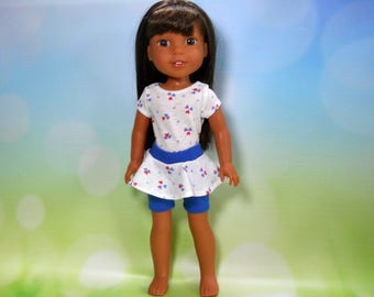 Made to fit 14.5 dolls such as Wellie Wisher, White Heart T-Shirt Top with Skirted Shorts, 05-2123