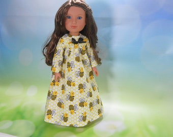 14.5 Inch Doll Nightgown, 14 Inch doll clothes, Wellie Nightgown, 14.5 Inch Doll Pajamas, Bumblebee Nightgown 14 In, READY TO SHIP, 03-2843
