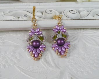Woven Earrings Purple and Lavender Gifts for Her