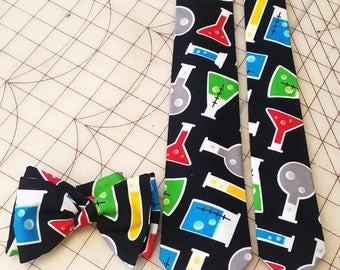 Chemistry Beaker Neckties in bow tie, skinny tie, and standard tie styles, kids or adult sizes