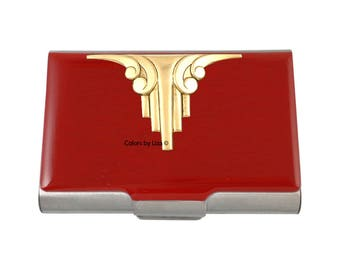 Art Deco Business Card Case Hand Painted Red Opaque Glossy Enamel Architecture Inspired with Personalized and Color Options
