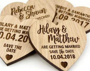 Personalised Save the Date Oak or cherrywood Heart ~ Fridge Magnets ~ Single Sample ~ Optional Envelope
