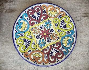 Talavera Plate Wall Hanging, Mexican Pottery, Rustic Decor, Mexican Folk Art, Boho Decor, Mexican Decor, Ceramic Plate, Housewarming Gift