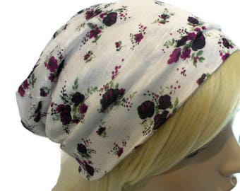 Floral Beanie Jersey Knit Slouchy Beanie with Deep Purple & Fuchsia Flowers Spring Beanie Festival Clothing Floral Hat Teen Hat Stretchy Hat