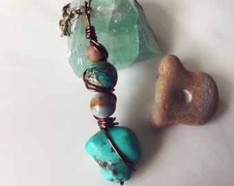 Turquoise Howlite Wire Wrapped Pendant Necklace