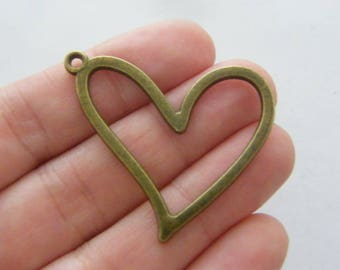 6 Heart charms antique bronze tone BC288