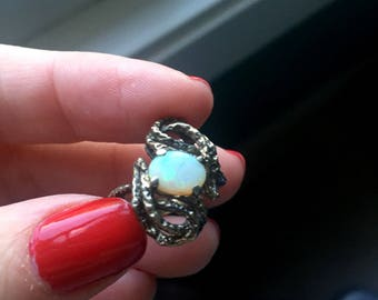 Opal Ring - Sterling Silver - Mid Century - Vintage