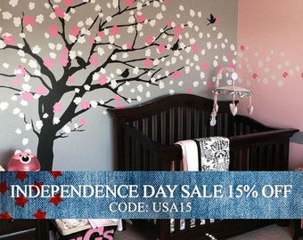 Independence Day Sale - Wall Decals Nursery, Cherry Blossom Tree Decal, Wall Decal Tree, Wall Decals for girls