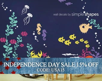 Independence Day Sale - Wall Decal Kids Under the Sea Wall Decal Collection Nursery Wall Decals