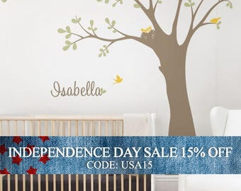 Independence Day Sale - Ceiling Tree with Birds and Nest Wall Decal, Baby Nursery Tree Wall Decal, Birds and Nest Wall Decal