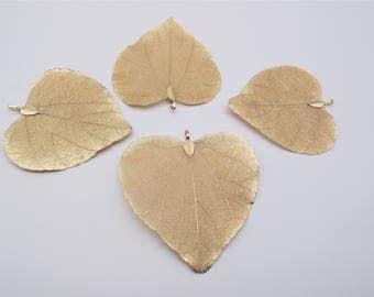 Nature Tree Leaf Charm - Heart Shape, Vein Leaves, Gold Leaf,  Real Nature Leaf Pendant, Metal Plated Natural Leaf, Filigree Leaf Charm