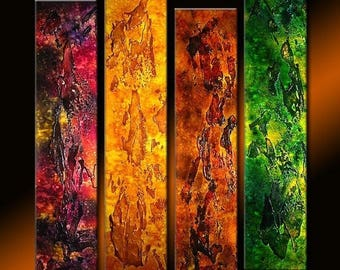 ORIGINAL Abstract Contemporary Fine Modern rich textured Painting by Henry Parsinia Large 32X36
