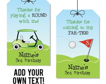 INSTANT DOWNLOAD Golf Party Favor Tags - EDITABLE printable birthday party favor tags