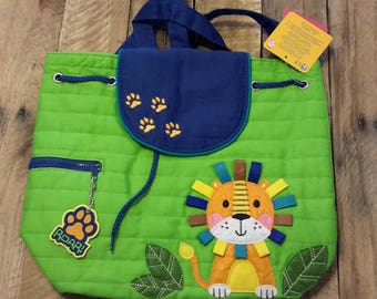 Lion personalized Stephen Joseph quilted backpack, diaper bag, baby shower gift, boy birthday gift
