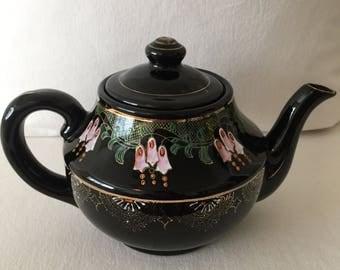 Vintage Brown Teapot ~ Made in Japan ~ Hand Painted Flowers
