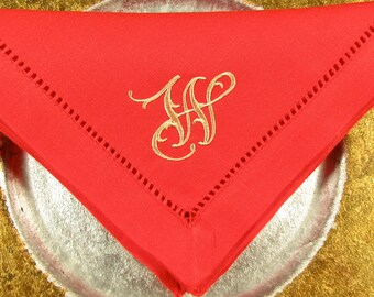 4 Red No Iron  White Linen Look  Monogrammed Hemstitched Napkins