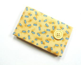 Business card holder, yellow blue cotton fabric card holder, credit card case, business card case, magnetic snap closure, 2 pockets