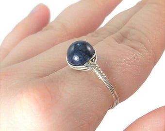 25% Off Sale Dumortierite Argentium Sterling Silver Wire Wrapped Ring