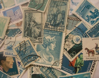 40 Aqua postage stamps, Vintage stamps, Postage Stamps, Antique Stamps, Beach Glass Blue