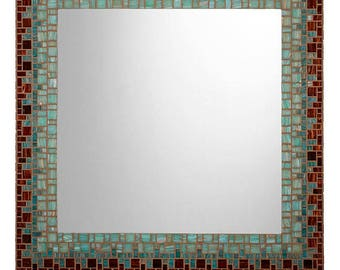 Mosaic Wall Mirror - Tiger's Eye Brown & Teal